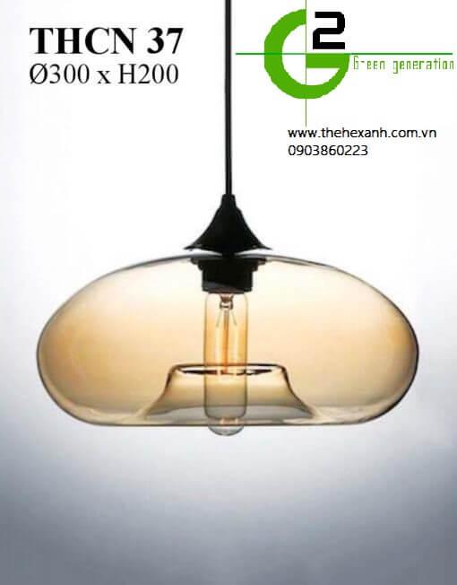 Đèn thả chao thủy tinh vàng hiện đại THCN 37